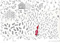 I adore this line drawing.  Wonderful for showing children they do not need to make everything life like to create a beautiful picture. little red riding hood _ illustrated