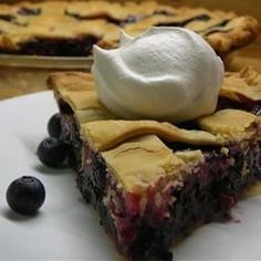 """""""This is the best when made with fresh picked blueberries! It is a beautiful sight with a lattice top."""""""
