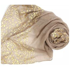 "B37 Fold Metallic Foil Beige Brown Scarf ‼️PRICE FIRM‼️   Retail $64  Super fun with gold metallic foil.  100% viscose.  35"" wide, 74"" long. Boutique Accessories Scarves & Wraps"