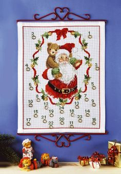 Julem m/bamse 38x49 Christmas Calendar, Advent Calendar, Cross Stitching, Needlepoint, Christmas Ideas, Diy And Crafts, Holiday Decor, Winter, How To Make