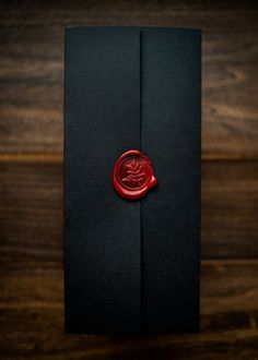 Wedding Chicks - Dramatic wedding invitation by Penn & Paperie – a black pocket folder with red wax seal. Custom Wedding Invitations, Wedding Invitation Cards, Wedding Cards, Our Wedding, Dream Wedding, Wedding Albums, Halloween Wedding Invitations, Wedding Venues, Party Invitations