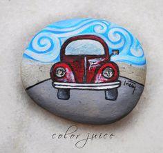 Retro Car , Beetle,  Painted stone via Etsy