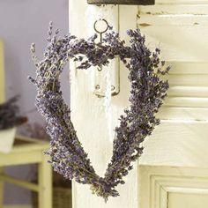 Heart-shaped wreath made of lavender for my bedroom door