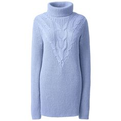 Lands' End Women's Plus Size Lofty Cable Turtleneck Tunic Sweater ($40) ❤ liked on Polyvore featuring plus size women's fashion, plus size clothing, plus size tops, plus size sweaters, blue, womens plus size sweaters, cable knit sweater, cable-knit sweater and plus size cable knit sweaters