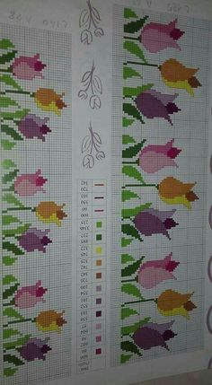 Here you can look and cross-stitch your own flowers. Cross Stitch Bookmarks, Cross Stitch Rose, Cross Stitch Borders, Cross Stitch Flowers, Cross Stitch Charts, Cross Stitch Designs, Cross Stitching, Cross Stitch Patterns, Blackwork Embroidery