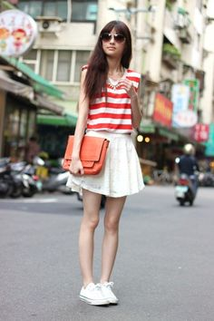 Discover this look wearing White Skirts, Carrot Orange Bags, Red Tops tagged cute, lower - never let me go by jennsu styled for Casual, Work in the Summer Moda Ulzzang, Only Fashion, Womens Fashion, Fashion Trends, White Off Shoulder Top, Shoulder Tops, Country Concert Outfit, White Lace Skirt, White Dress