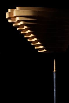 ALVAR AALTO, Floor lamp A 805 (also known as the Angel Wing), manufactured for Artek by Valaistustyö Ky, Finland. This model was originally designed for Helsinki's Social Insurance Institution Building in 1955. / Pinterest