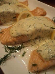Salmon with Dill Sauce Dill sauce- Made this tonight and served it over lemon pepper tilapia, and my husband really liked it. I used a little less dill then the recipe called for Sauce Recipes, Fish Recipes, Seafood Recipes, Dinner Recipes, Cooking Recipes, Healthy Recipes, I Love Food, Good Food, Yummy Food