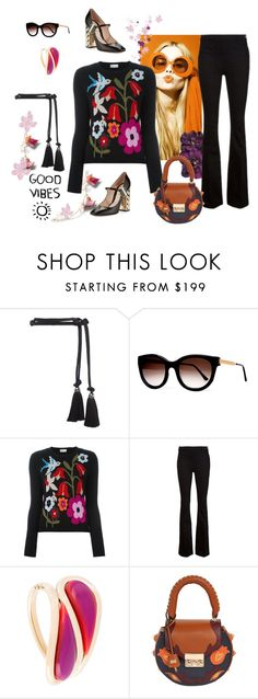 """Good vibes only!"" by juliabachmann ❤ liked on Polyvore featuring Lanvin, Thierry Lasry, MaxMara, RED Valentino, Frame Denim, Etro, SALAR and Nicholas Kirkwood"