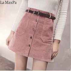 Cheap sleeve sweater, Buy Quality long sleeve sweater directly from China rib knit Suppliers: style ropa boho clothing dames kleding faldas mujer moda 2018 harajuku Women autumn winter slim fit short corto skirt Denim Skirt Outfits, Denim Outfit, Pink Denim Skirt, Jeans Rosa, Denim Fashion, Fashion Outfits, Fashion Women, Fashion 2020, Gothic Fashion