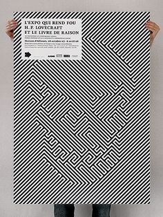 L'Expo Qui Rend Fou poster by Themes Illustration for the Lovecraft Exhibition. Op-art ideas for the office. Poster Design, Graphic Design Posters, Graphic Design Typography, Graphic Art, Geometric Graphic, Graphisches Design, Skull Design, Print Design, Pixel Design