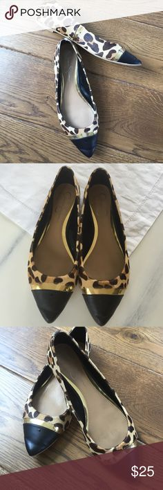 Authentic Jessica Simpson flats very stylish Jessica Simpson flats Faux animal print gold stripe black leather toe good condition no rips or tears Jessica Simpson Shoes Flats & Loafers