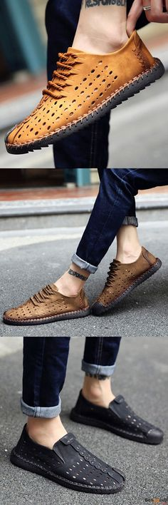US$43.79 + Free shipping. Men Genuine Leather, British Style Leather Flats, Hand Stitching Flats, Hollow Out Shoes, Casual Flats. Color: Black, Brown, Kahki. Upper Material: Genuine Leather.