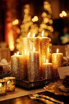 gold glitter candles wedding centerpiece / http://www.deerpearlflowers.com/wedding-ideas-using-candles/