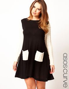 ASOS Swing Dress With Cable Sleeves