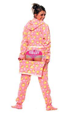 Pink Duckie - Drop Seat Hoodie - Pajamas Footie PJs Onesies One Piece Adult Pajamas - JumpinJammerz.com