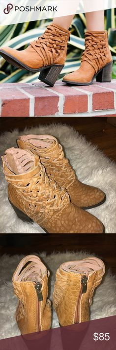 Leather Booties New without Box! Ankle boot. Washed leather with basket weaving. Back zipper closure. Made in Portugal. Sold out in stores. Get yours now ! Perfect for the fall season. Sorry no trades! Free People Shoes