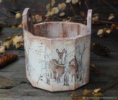 """Купить """"Лесные гости"""" кадушка - олени, корзина, коричневый, короб, корзинка, лес, новогодний подарок"""