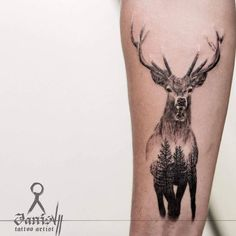 Double exposure stag tattoo by Janis #beautytatoos