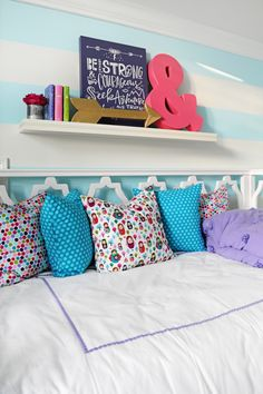 Cute and colorful accessories from HomeGoods make this tween bedroom fun and inviting.  Can't find the color you need?  Don't be afraid to spray paint fun finds! HomeGoods sponsored post.