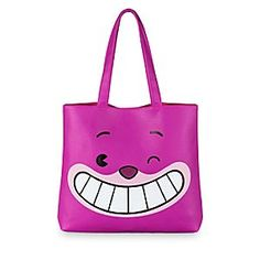 The mystical Cheshire Cat gives a knowing wink on the front of this tote. With its tail on the back, you should check inside the faux leather bag for its invisible body. Fully lined, it includes interior pockets and magnetic snap fastener.