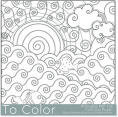 Printable Waves And Fish Coloring Page For Adults PDF By ToColor