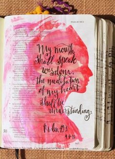 Psalm 49:3, April 4, 2016, carol@belleauway.com, acrylic paint, Illustrated Faith pen, inspired by Andreas Lie silhouette art and IG graceandsaltink hand lettering , bible art journaling, bible journaling, illustrated faith