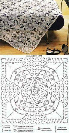 crochet doily with diagram by Crochet Bedspread Pattern, Crochet Doily Diagram, Crochet Motif Patterns, Filet Crochet Charts, Granny Square Crochet Pattern, Crochet Squares, Crochet Designs, Crochet Doilies, Thread Crochet