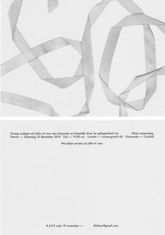 Invitation for a dinner at Looiersgracht 60. Graphic design: Studio Hudson. #invitations #design #graphicdesign #paper # typography #typedesign #60 #dinner #papicolor #gmund #looiersgracht60 #detail #illustration #studiohudson