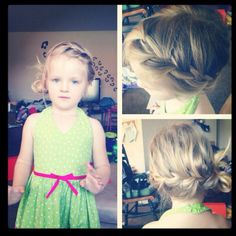 Kids hairstyles My daughter, Emerson with a French wrap around braid with a simple bun. Took 3 mins!
