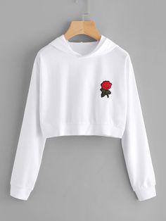 Sweatshirts by BORNTOWEAR. Rose Embroidered Patch Crop Hoodie #fashionhoodie