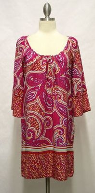 Pink paisley dress with split sleeve. tryst-boutique.com