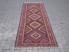 DESCRIPTION--  Origin: Vintage Tribal Soumak Rug,Caucassian Soumak  Type: Hand Embroidered  Material: Wool on Cotton  Size in c.m : About 290c.m X 112c.m  Size in inches : About 115 X 44  Size in feet: About 9,7 X 3,8  Size is WITHOUT TASSELS!  Age: About 60 Years Old  Colors(Colours): All Natural ,Organic Vegetable Dyes  Design: Traditional,Tribal Design (Noahs Ark Animals,Diamonds,Nomadic Tents,Friendship,Arm in Arm,Rams Horn,,Running Water,etc)  -- INFORMATION --  This UNIQUE TRIBAL…