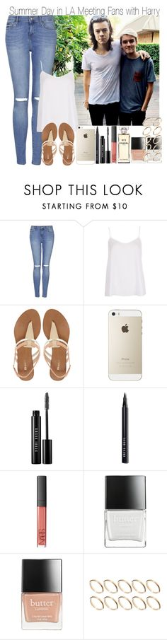"""""""Summer Day in LA Meeting Fans with Harry"""" by elise-22 ❤ liked on Polyvore featuring Topshop, Dune, Bobbi Brown Cosmetics, NARS Cosmetics, Butter London, ASOS and Chanel"""