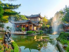Chinese Garden puzzle in Puzzle of the Day jigsaw puzzles on TheJigsawPuzzles.com. Play full screen, enjoy Puzzle of the Day and thousands more.