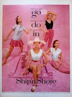 1956 Ship n Shore Blouses Vintage Advertisement Boutique Wall Art Bedroom Decor Womens Fashion Wall Print Original Magazine Ad Fashion - Bluse Vintage Advertisements, Vintage Ads, Vintage Prints, Vintage Style, Blouse Vintage, Vintage Dresses, Vintage Outfits, Vintage Clothing, 1950s Fashion
