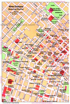 New Orleans - Business District Map - Tourist Attractions