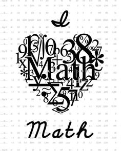 I love Math - Geekery art print -Typography number art - Geekery - Nerd power - Teacher gift - Playroom decor - Kids room art. $9.99, via Etsy.