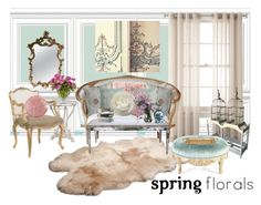 """""""florals"""" by madameguillotine ❤ liked on Polyvore featuring interior, interiors, interior design, home, home decor, interior decorating, Royal Velvet, UGG, Pier 1 Imports and Dot & Bo"""
