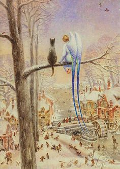 One of my favorites, it's so peaceful, with the beautiful Angel child and her kitty friend looking down upon the bustling village, by Vladimir Rumyantsev Art And Illustration, I Believe In Angels, Ouvrages D'art, Angel Art, Rainbow Bridge, Cat Drawing, Figure Painting, Cat Art, Art History