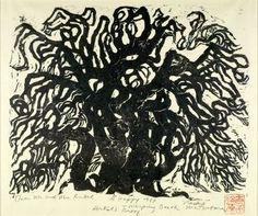 Matsubara Naoko: Weeping Beech Tree, Shôwa period, woodcut