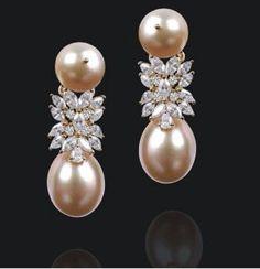 pink pearls & diamond drop earrings