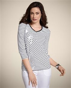 """Long-lasting, smooth-fitting, and fade-resistant. Our Zenergy top gets modern interest with all-directional stripes and silvery foil streaks.  Mixable, matchable, cozy-chic Zenergy®: live in, lounge in, love.  Length: 24 1/2"""".  95% cotton, 5% spandex.  Machine wash. Imported."""
