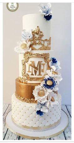 Elegant White And Gold Cake Designs - The Wonder Cottage Bling Wedding Cakes, Ivory Wedding Cake, Themed Wedding Cakes, Elegant Wedding Cakes, Gorgeous Cakes, Pretty Cakes, Crazy Birthday Cakes, 50th Birthday, 60th Anniversary Cakes