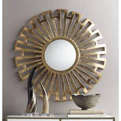 Pendalosa Bright Gold 35 Round Sunburst Wall Mirror 8p151 Lamps Plus