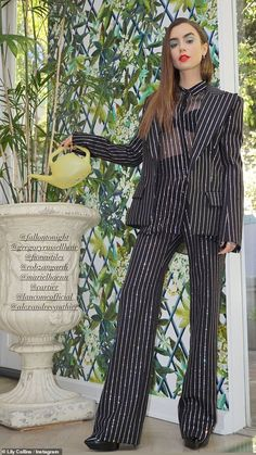 Lily Collins Dress, Lily Collins Style, Lily Collins Fashion, Pinstripe Suit Women, Paris Outfits, Pantsuits For Women, Star Girl, Fashion Poses, Beautiful Blouses