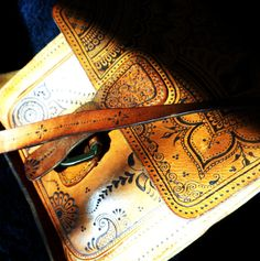 Your place to buy and sell all things handmade Leather Pieces, Leather Bag, Mehndi Designs, Vintage Leather, Embellishments, Facebook, Bags, Etsy, Handbags
