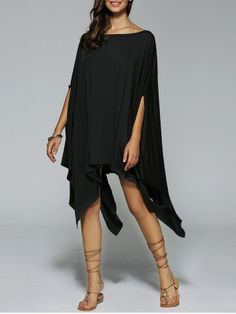 SHARE & Get it FREE | Boat Neck Dolman Sleeves Handkerchief DressFor Fashion…