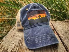 Hand Tooled Hand Painted Custom Leather Snapback Mesh Patch Cap Dark Blue with Desert Sunset Scene