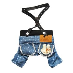 Gollyking Stylish Dog Jeans Dog Pants Denim Dog Overalls Cute Dog Jumpsuit Pet Clothes,Bunny,L * Discover this special dog product, click the image : Dog Apparel and Accessories